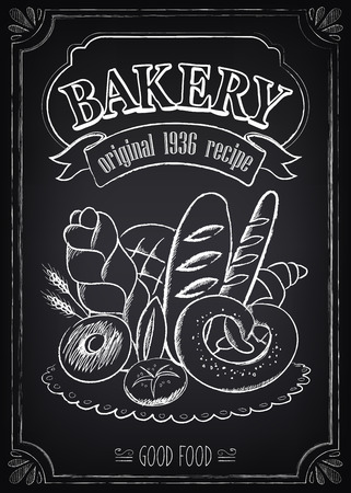 bap: Vintage Bakery Poster. Freehand drawing on the chalkboard: bread and other pastries