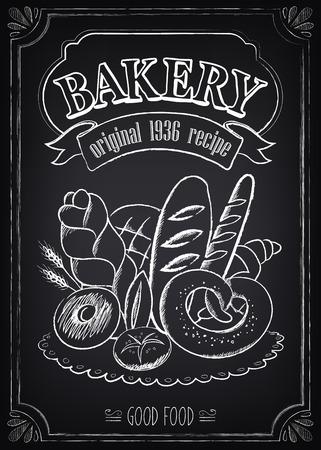 Vintage Poster Bakery. De vrije hand tekening op het bord: brood en andere gebak