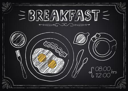 Vintage plakat - śniadanie. Freehand rysunek na tablicy: smażone jajka i kawa