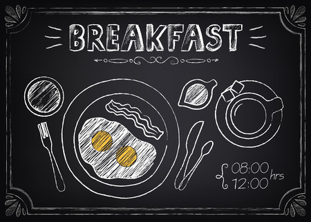 morning breakfast: Vintage Poster - Breakfast. Freehand drawing on the chalkboard: fried eggs and coffee