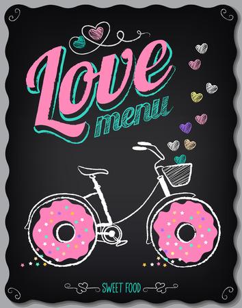 ビンテージのポスター。メニュー。黒板にフリーハンド描画: ドーナツ、バイク、心