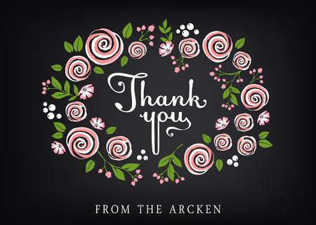 Thank you card with floral background 向量圖像