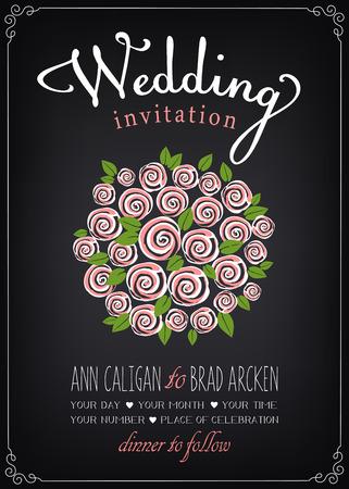 Wedding invitation card with bridal bouquet