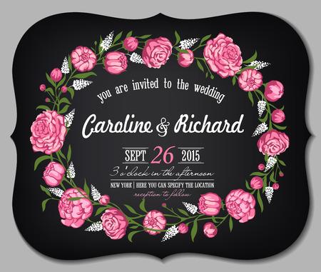 pfingstrosen: Vintage-Karte für eine Einladung zur Hochzeit, Valentinstag und an Feiertagen