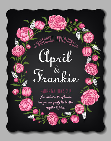 Wedding invitation card with floral background.