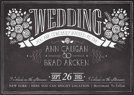 結婚式招待状ビンテージ カード。黒板にフリーハンドでの描画  イラスト・ベクター素材