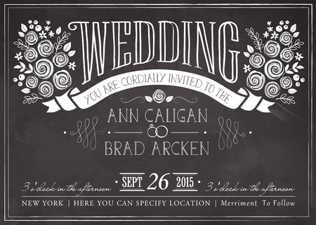 blackboard: Wedding invitation vintage card. Freehand drawing on the chalkboard