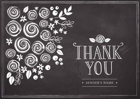 Thank you card with floral background. Freehand drawing on a chalkboard