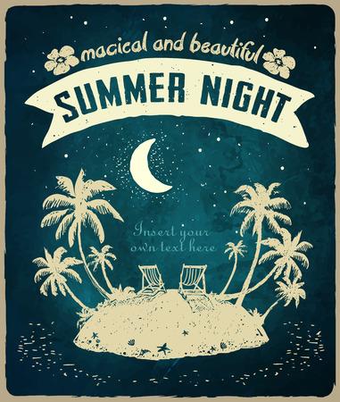 비치 파티 또는 휴가를위한 빈티지 카드입니다. 열 대 섬, 밤, 휴가