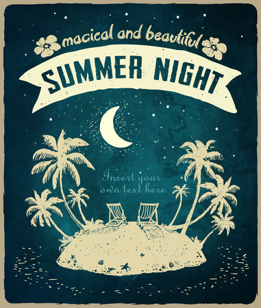 Vintage card for a Beach party or holiday. Tropical island, night, vacation