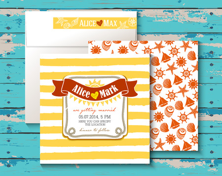 Vintage card for a Beach party or Wedding invitation  Wooden background Vector