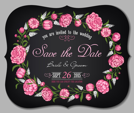 women s day: Wedding invitation card with floral background Illustration