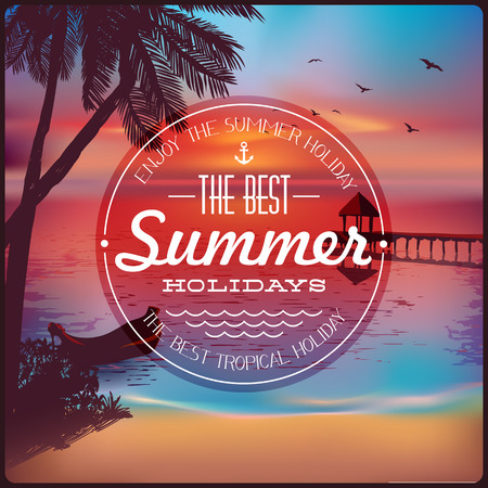 sunrise beach: Vintage card with a beautiful sunset tropical beach