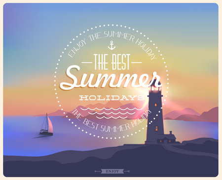 Vintage card with a beautiful sunset, sea, lighthouse, ship, mountains  Vector