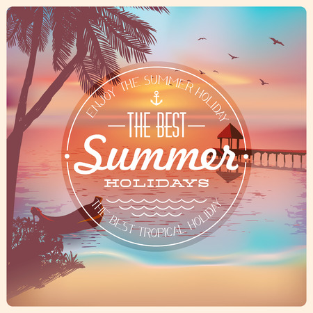 Vintage card with a beautiful sunset tropical beach    Vector
