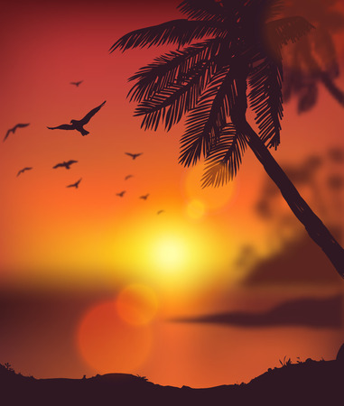 Summer poster Sunset tropical beach with palm trees Vector EPS 10