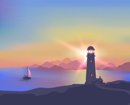 ships: Card with a beautiful sunset, sea, lighthouse, ship, mountains