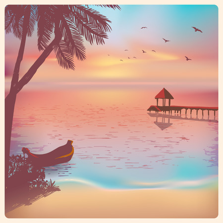 Vintage card with a beautiful sunset tropical beach    Stock Illustratie