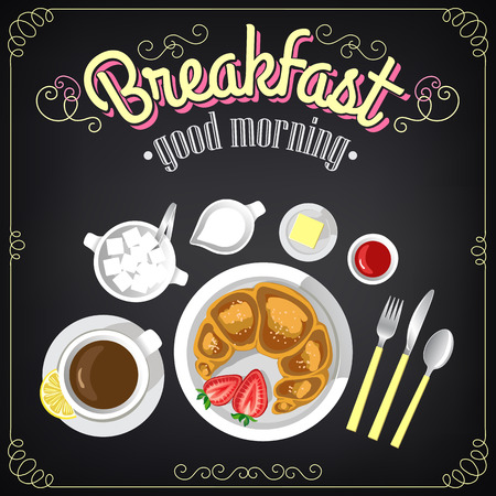 Vintage Poster  Breakfast menu  Croissant and coffee  Set on the chalkboard for design in retro style Ilustracja