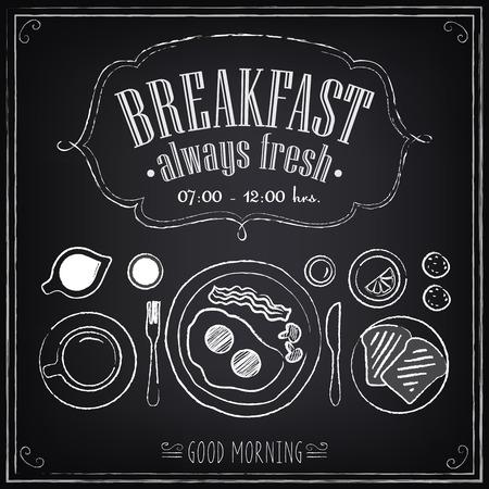 レトロなスタイルのデザインのための黒板のスケッチにビンテージのポスターの朝食メニューを設定  イラスト・ベクター素材