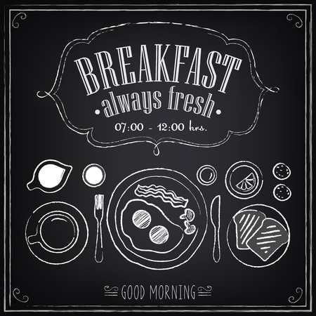 칠판에 설정 빈티지 포스터 아침 식사 메뉴는 복고 스타일의 디자인을 스케치합니다