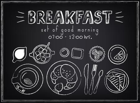 cafe bombon: Menú de desayuno del cartel del vintage Ubicado en la pizarra bocetos para el diseño de estilo retro