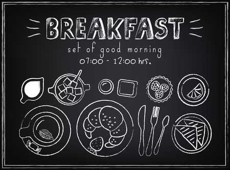 Vintage Poster  Breakfast menu  Set on the chalkboard  Sketches  for design in retro style Vector