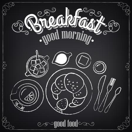 Affiche vintage. Petit-déjeuner. Situé sur le tableau noir pour la conception dans le style rétro Banque d'images - 30865333