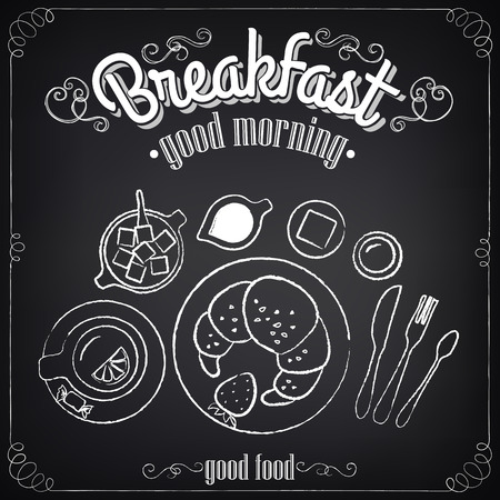 brunch: Vintage Poster. Breakfast. Set on the chalkboard for design in retro style