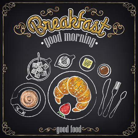 petit déjeuner: Affiche vintage. Petit-déjeuner. Croissant et café. Situé sur le tableau noir pour la conception dans le style rétro