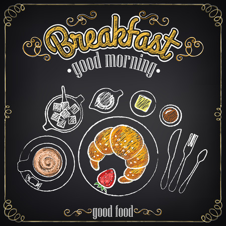 Vintage Poster. Breakfast. Croissant and coffee. Set on the chalkboard for design in retro style Vector