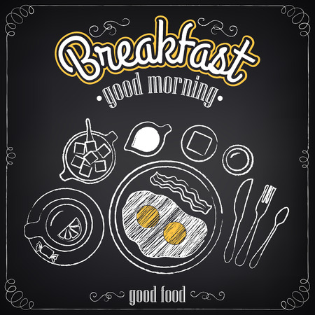 Vintage Poster. Breakfast. Set on the chalkboard. Sketches  for design in retro style Ilustração