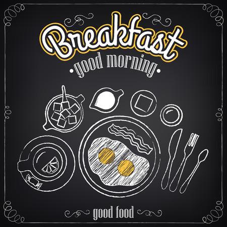 Vintage Poster. Ontbijt. Zet op het bord. Schetsen voor ontwerp in retro stijl Stock Illustratie
