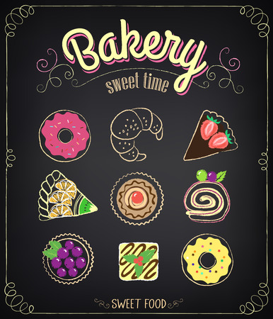 cherry pie: Sweet Bakery Menu. Set on a chalkboard for design in retro style. Chalk drawing