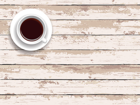 wood planks: Cup of coffee on a wooden table