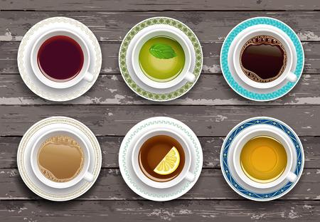 tipos: Ilustración del vector. Juego de café y de té en una mesa de madera. Vista superior