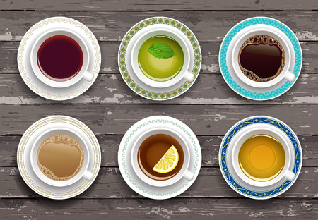 overhead view: Vector illustration. Set of coffee and tea cups on a wooden table. Top view