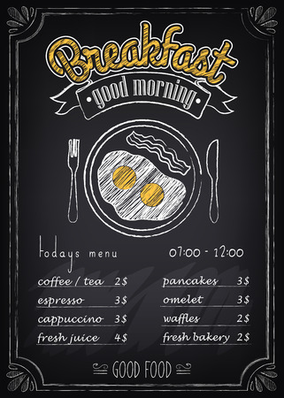 chalk board: Vintage Poster. Breakfast menu. Fried eggs, beacon. Freehand drawing