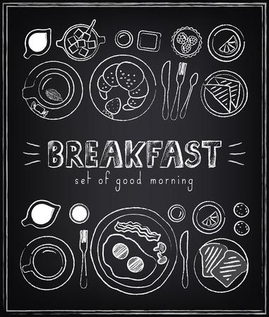 ビンテージのポスター。朝食。黒板に設定します。レトロなスタイルのデザインのためのスケッチ  イラスト・ベクター素材
