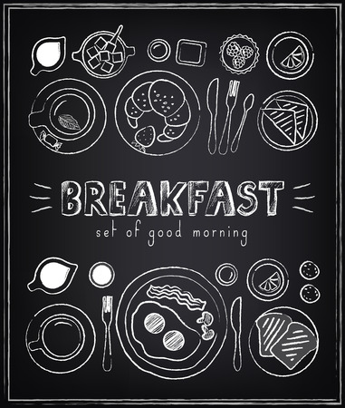 빈티지 포스터. 아침 식사. 칠판에 설정합니다. 복고 스타일의 디자인을위한 스케치