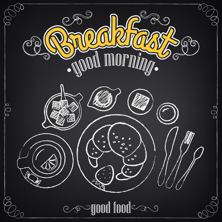 Vintage Poster. Breakfast. Croissant and tea. Set on the chalkboard for design in retro style