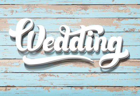 wedding table decor: The word Wedding on a wooden background. Horizontal boards Illustration