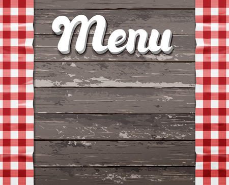 checker plate: The word Menu on a wooden background with the tablecloth