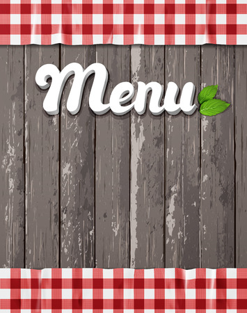 caption: Menu for restaurant, cafe. The word Menu on a wooden background with the tablecloth