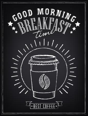 taza cafe: Cartel del vintage. ? Offee. Dibujo a mano alzada en la pizarra
