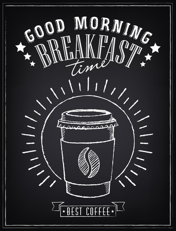 cup coffee: Vintage Poster. ?offee. Freehand drawing on the chalkboard