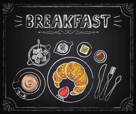 capuchinos: Desayuno del cartel del vintage. Croissant y café