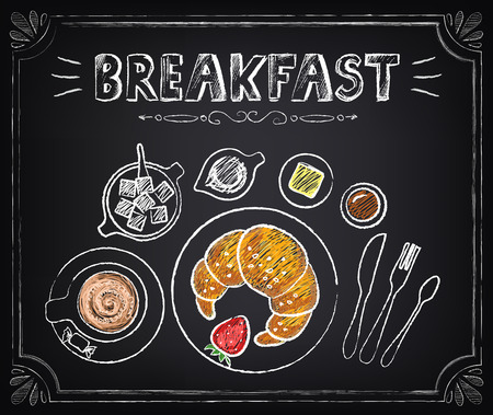 Vintage Poster Breakfast. Croissant and coffee Stock Illustratie