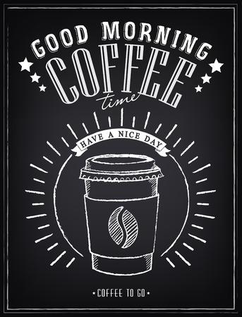 Vintage Poster - Coffee, Freehand drawing on the chalkboard Stok Fotoğraf - 35180431