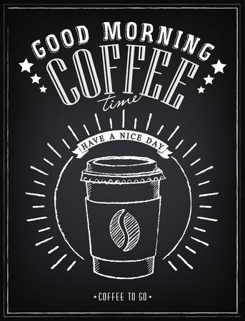Vintage poszter - Kávé, szabadkézi rajz a táblán Illusztráció
